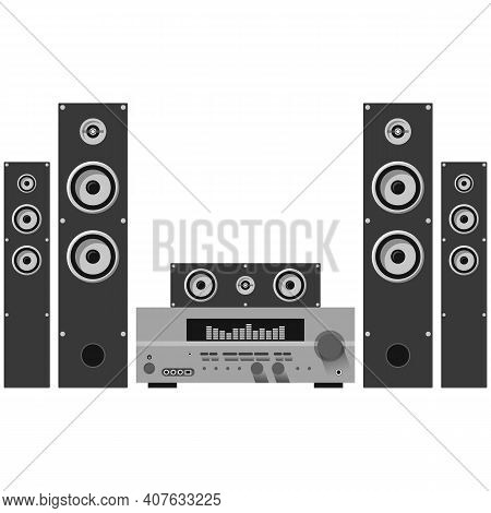 Home Theatre Acoustic System Isolated On White Background