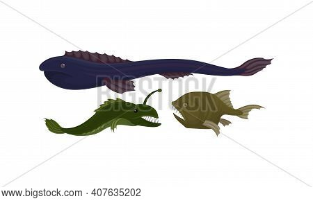Toothy Extinct Fish From Deep Sea As Gill-bearing Aquatic Animals Vector Set