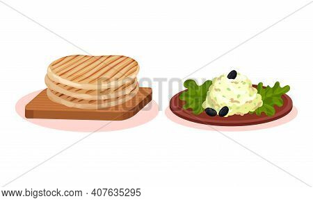 Baked Crumpet On Wooden Board And Salad Garnished With Green Leaves Vector Set