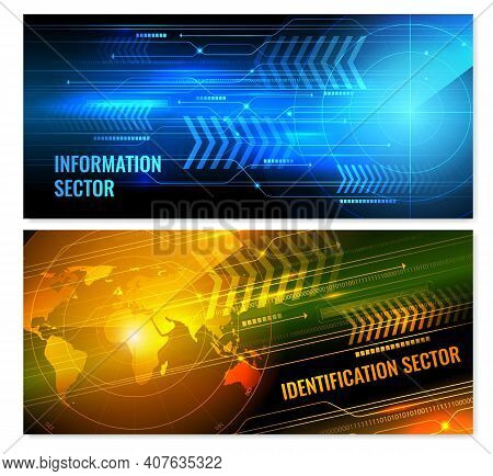 Search Radar Horizontal Banners With Glowing Screen Elements Including Information Sector And World