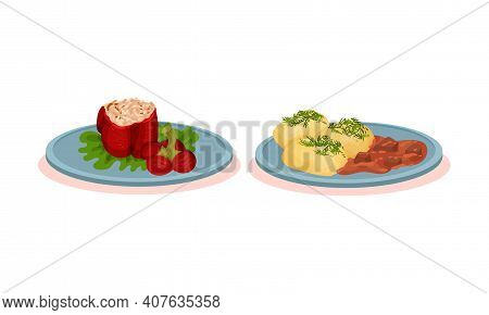 Bell Pepper Stuffed With Rice And Boiled Potatoes With Meat Gravy Vector Set