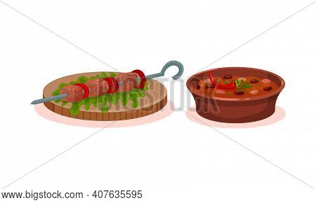 Shashlik With Meat Slabs On Skewer And Stewed Beans In Bowl Vector Set