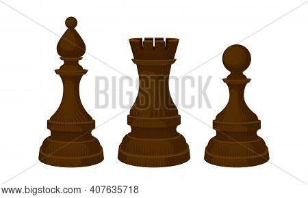 Black Chess Piece Or Chessman With Pawn And Rook Vector Set