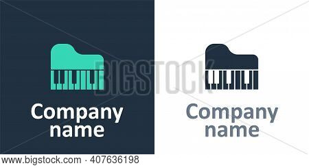 Logotype Grand Piano Icon Isolated On White Background. Musical Instrument. Logo Design Template Ele