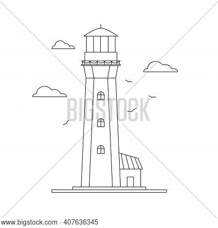 Line Art Vector Of Lighthouse Building With Natural Landscape, Path Lighting. Searchlight Tower, Mar