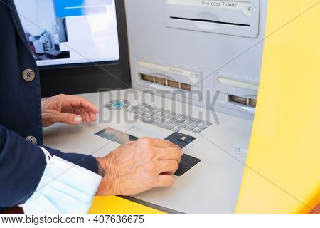 Senior Man With Atm, Mature Male Using Bank Cash Machine, Close Up View - Concept Of Business, Banki