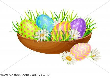 Decorated Easter Eggs Or Paschal Eggs Rested In Wooden Bowl With Green Grass With Spring Flowers Vec