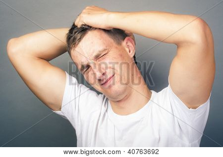 an image of stressed man in studio poster
