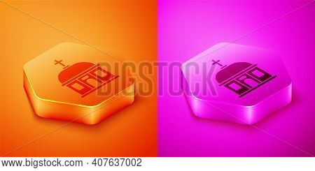 Isometric Santorini Building Icon Isolated On Orange And Pink Background. Traditional Greek White Ho