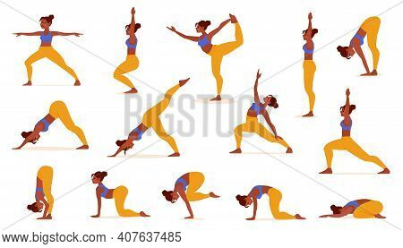 Yoga Poses For Lifestyle Design. Healthy Female Body. Body Health Care. Workout Girl Set. Female Bod