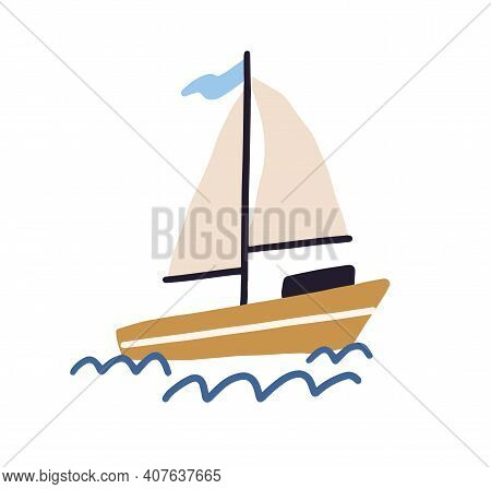 Childish Boat With Sails And Flag Floating In Sea Or Ocean. Sailboat And Water Waves In Scandinavian