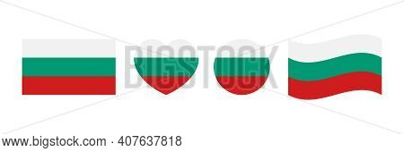 Flags Of Bulgaria Set, Collection Of Design Elements In Different Shapes For Bulgarian National Holi