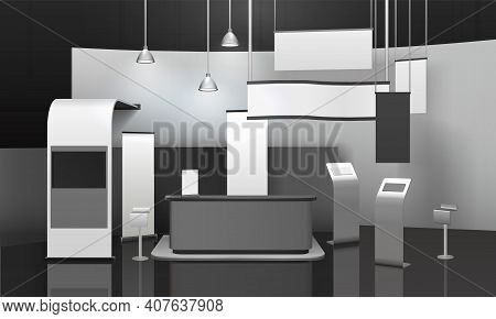 Advertising Exhibition Stand 3d Mockup With Counter, Displays, Horizontal And Vertical Blank Banners