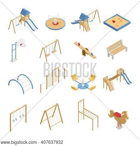 Children Playground Set Of Isometric Icons With Swings, Slides, Basketball Hoop, Sandbox, Climbing F