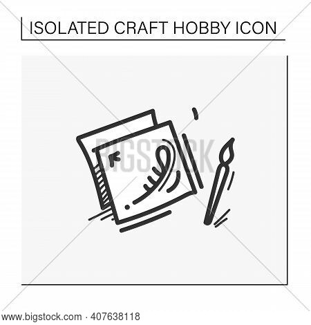 Decoupage Hand Draw Icon. Decorating An Object By Gluing, Colored Paper Cutouts In Combination With