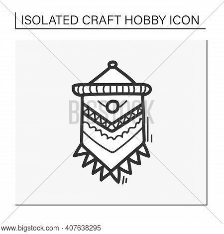 Macrame Hand Draw Icon. A Form Of Textile-making Using Knotting. Modern Home Element, Hygge Style, S