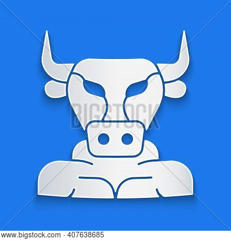 Paper Cut Minotaur Icon Isolated On Blue Background. Mythical Greek Powerful Creature The Half Human