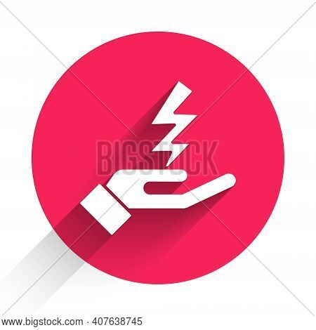 White Zeus Icon Isolated With Long Shadow. Greek God. God Of Lightning. Red Circle Button. Vector