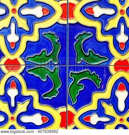 Old Wall Ceramic Tiles Patterns Handcraft From Thailand Temple Wall Public