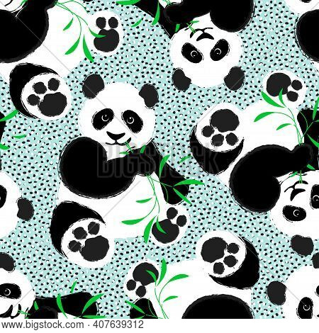 Seamless Vector Background With Panda And Eucalyptus, Pattern For Printing On Fabric Or Paper, Cute