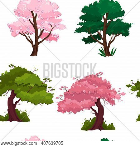 Spring, Summer Tree Seamless Pattern With Green Lush, Pink Sakura Blossom Isolated On White Backgrou