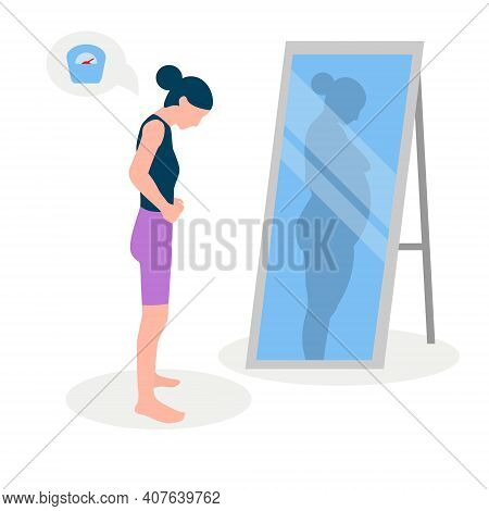 Flat Vector Illustration Of A Skinny Girl With Low Self-esteem Standing In Front Of A Mirror. The Gi