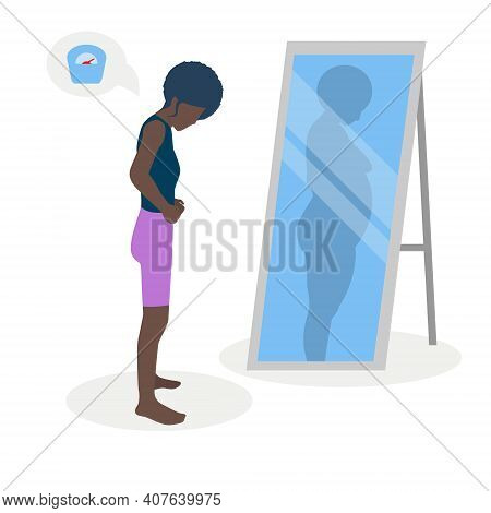 Flat Vector Illustration Of A Black Skinny Girl With Low Self-esteem Standing In Front Of A Mirror.