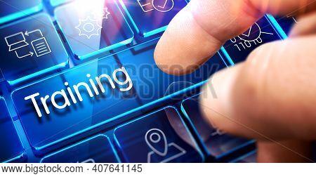 Training Written On The Blue Key Of Futuristic Keyboard. Training Key On Conceptual Keyboard.3d.