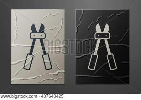 White Bolt Cutter Icon Isolated On Crumpled Paper Background. Scissors For Reinforcement Bars Tool.