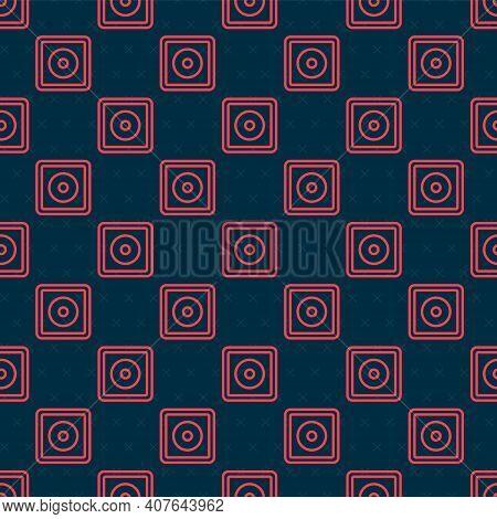 Red Line Billiard Chalk Icon Isolated Seamless Pattern On Black Background. Chalk Block For Billiard