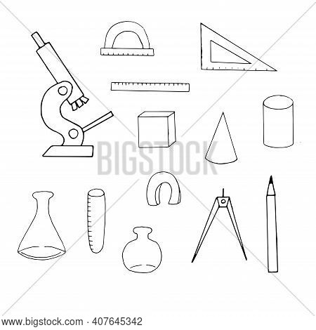 Set Of School Subjects Vector Doodle Illustration Learning Tools Sketch