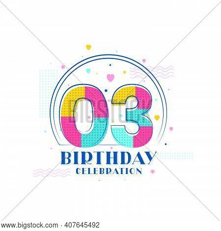 3 Birthday Celebration, Modern 3rd Birthday Design Vector Illustration