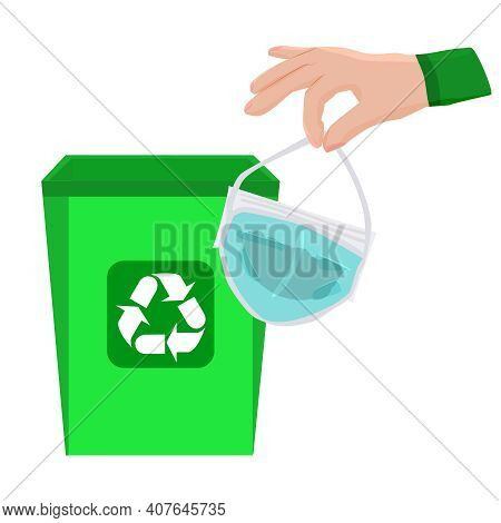 Trash Bin, Hand And Away Used Medical Mask Isolated On White Background. Throwing A Dirty Mask In Th
