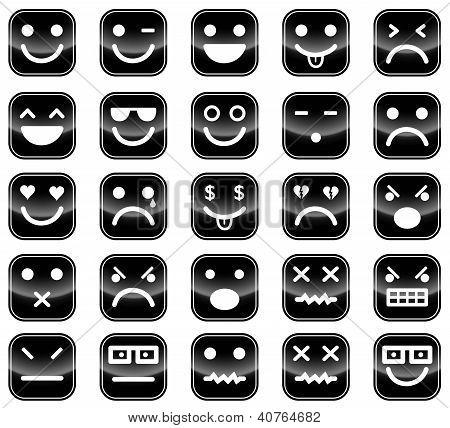 Black Smiley Icons