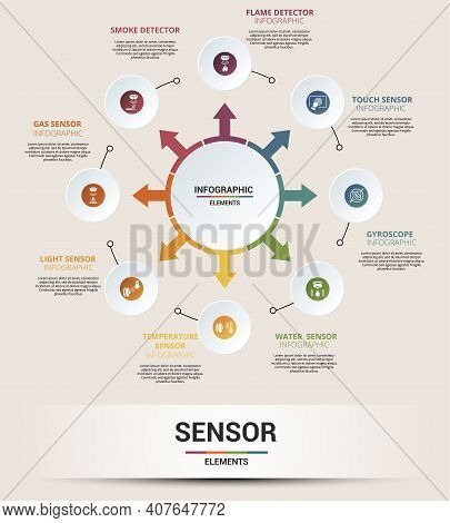 Infographic Sensor Template. Icons In Different Colors. Include Water Quality Sensor, Flame Detector
