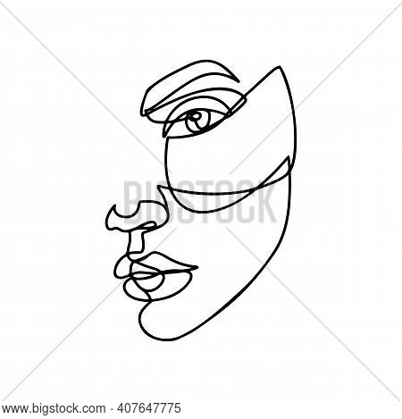Continuous Line Drawing. Abstract Woman Portrait. One Line Face Art Vector Illustration. Female Line