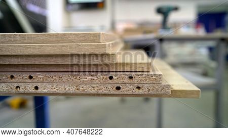 Furniture Workshop For The Production Of Furniture. Production, Manufacture And Woodworking Industry