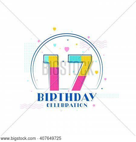 17 Birthday Celebration, Modern 17th Birthday Design Vector Illustration