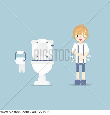 Boy Having Stomach Ache, Needing To Urinate, Holding His Poo, Suffering From Diarrhea Or Constipatio