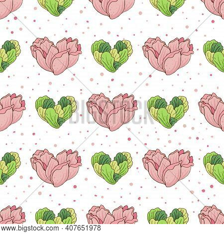 Seamless Pattern With Flowers And Greens In The Shape Of Hearts On A White Background. Vector Illust