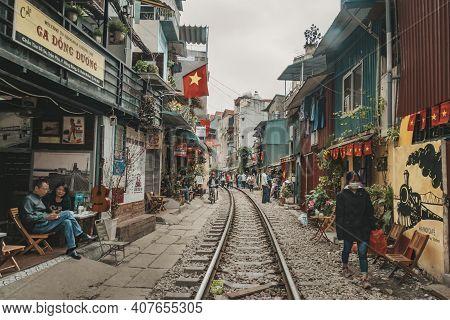 Landmark Of Hanoi: Old Railway In Afternoon At Hanoi. Vietnam. 13 January 2019