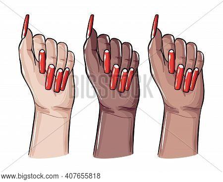 Acrylic Coffin Nails, Fake False Gel Manicure Art. Nail Care Art, Beauty And Spa Center Procedure. V