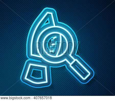 Glowing Neon Line Magnifying Glass With Footsteps Icon Isolated On Blue Background. Detective Is Inv
