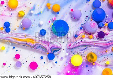Fluid Art Texture. Abstract Backdrop With Mixing Paint Effect. Liquid Acrylic Picture With Mixed Pai