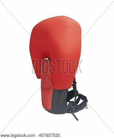 Side View Of Red Inflated Avalanche Airbag Backpack Isolated On White Background