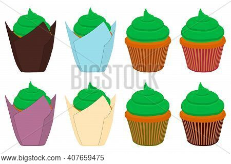 Illustration On Theme Irish Holiday St Patrick Day, Big Set Cupcakes. Pattern St Patrick Day Consist