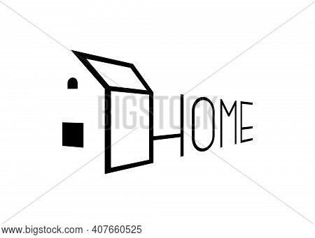 Home Linear Logo Perspective Design Template For Real Estate Company. House Development Linear Brand