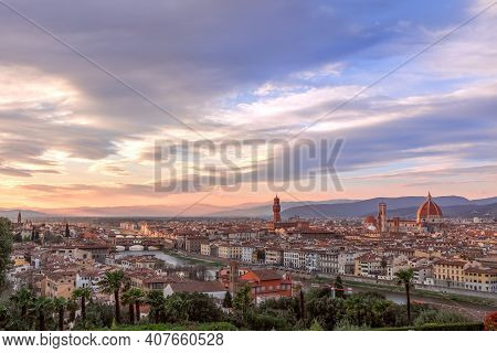 Beautiful Sunset Over Florence And Its Famous Landmarks. Palazzo Vecchio, Florence Cathedral, Ponte