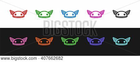 Set Line Helmet With Wings Icon Isolated On Black And White Background. Greek God Hermes. Vector