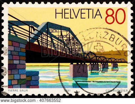 Moscow, Russia - February 11, 2021: Stamp Printed In Switzerland Shows Railway Bridge Between Koblen